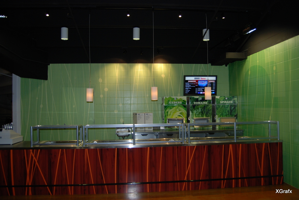 Alamodome Green Fork - Counter Design and Graphics, Wall Design and Graphics, Lettuce Vending Machine Design and Graphics