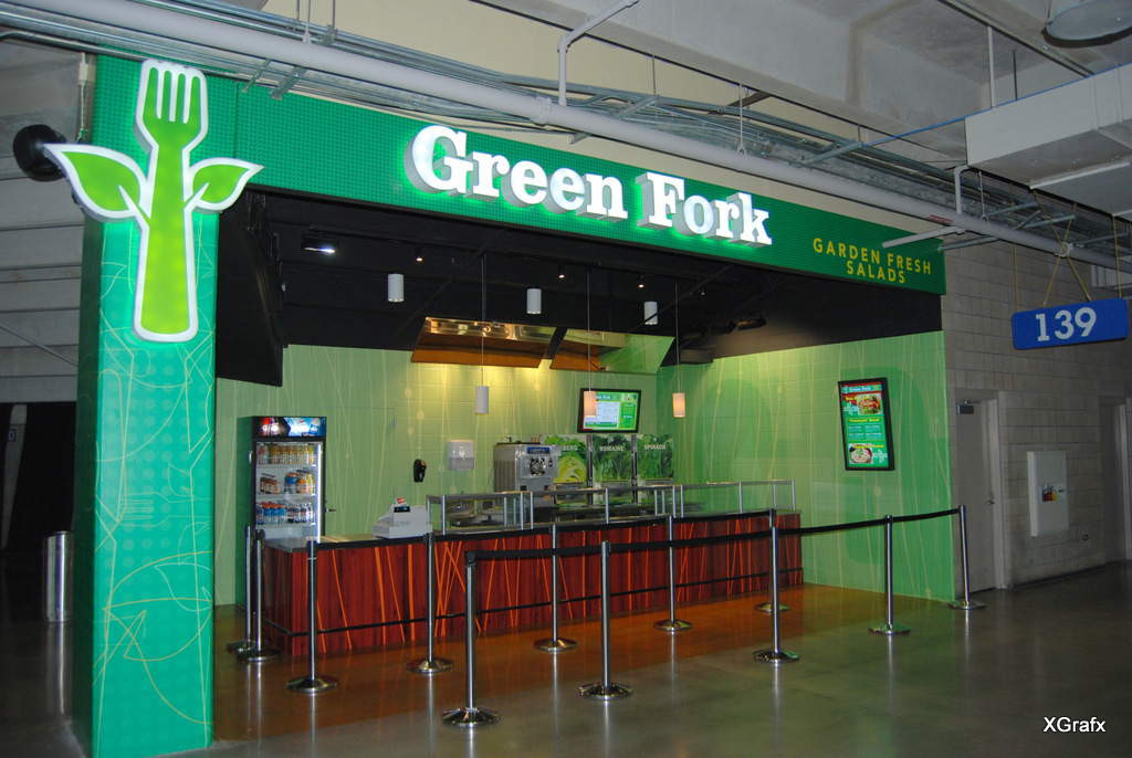 Alamodome Green Fork - Illuminted Signs, Design, Branding, Graphics, Installation