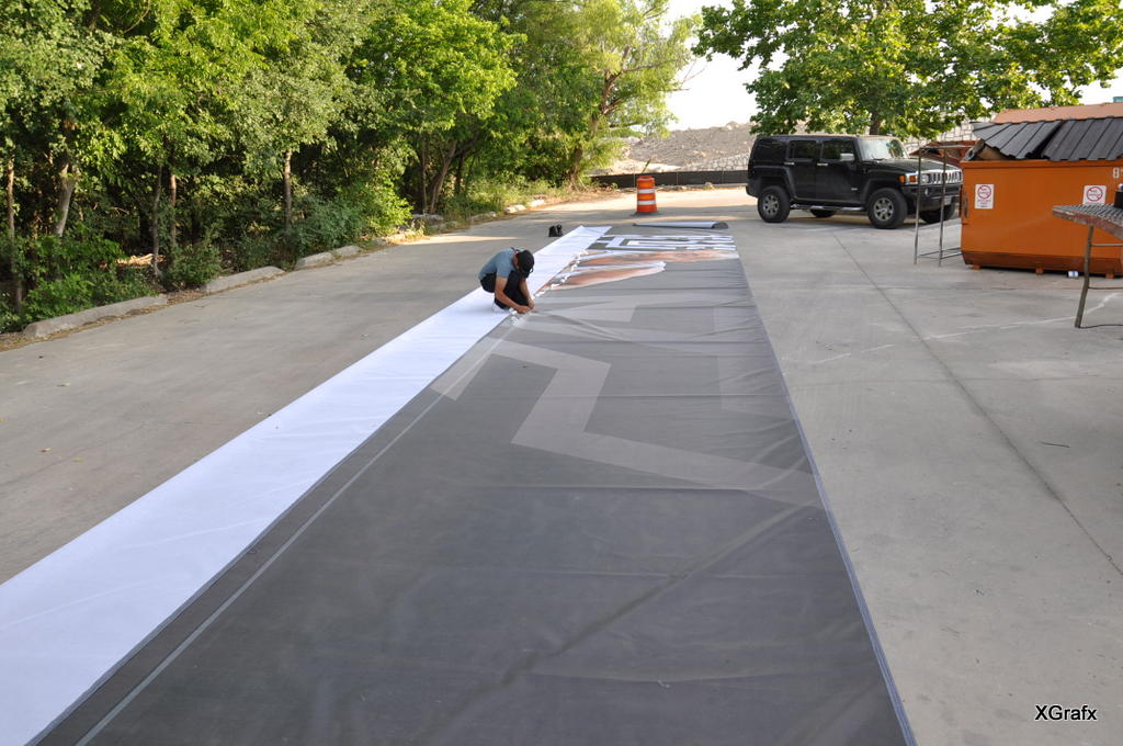 Spurs Playoff 2012 - Large Banner Preparation